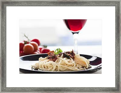 Pasta Putanesca Framed Print by Mythja  Photography