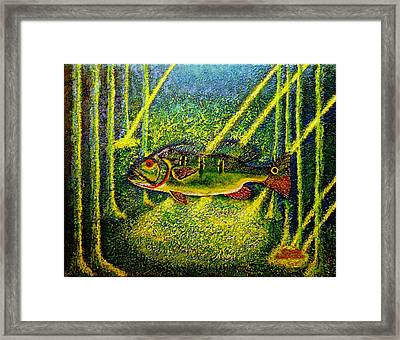 Framed Print featuring the painting Peacock Bass.sculpture. by Viktor Lazarev