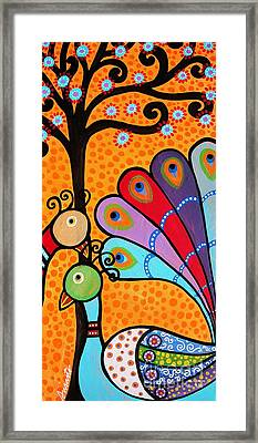 Framed Print featuring the painting 2 Peacocks And Tree by Pristine Cartera Turkus