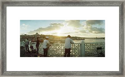 People Fishing In The Bosphorus Strait Framed Print by Panoramic Images