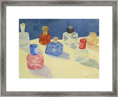 Framed Print featuring the painting Perfume Bottles by Patricia Cleasby