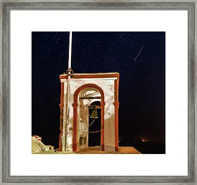 Perseid Meteor Track Over Santorini Framed Print
