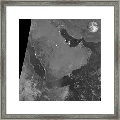 Persian Gulf At Night, Satellite Image Framed Print by Science Photo Library