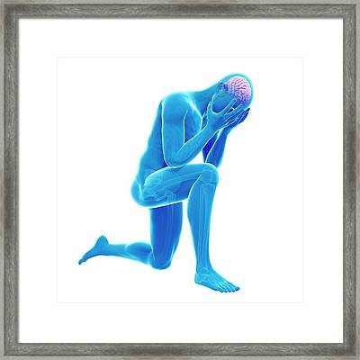 Person Kneeling Framed Print