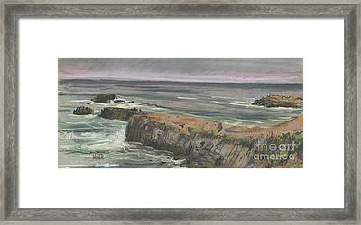 Framed Print featuring the painting Pescadero Beach by Donald Maier