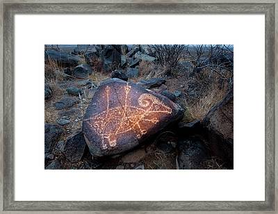 Petroglyph At The Three Rivers Framed Print by Larry Ditto