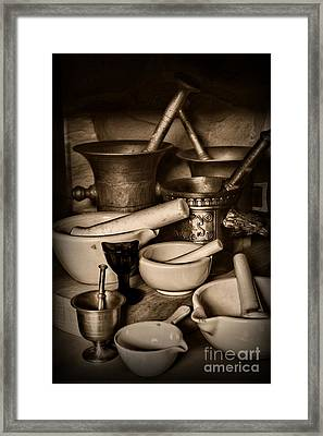 Pharmacy - Mortars And Pestles - Black And White Framed Print by Paul Ward