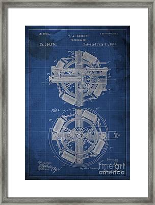 Phonograph Edison Patent Blueprint 1 Framed Print by Pablo Franchi