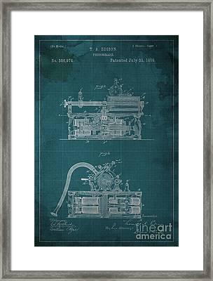 Phonograph Edison Patent Blueprint 2 Framed Print by Pablo Franchi