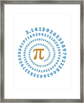 Pi Symbol And Number Framed Print by Alfred Pasieka