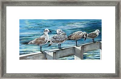 Pier Gulls Framed Print