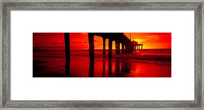 Pier In The Pacific Ocean, Manhattan Framed Print