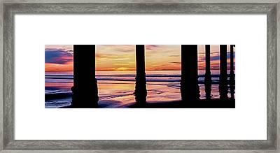 Pier On Beach At Sunset, La Jolla, San Framed Print