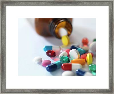 Pill Bottle With Pills Framed Print