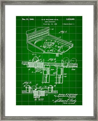 Pinball Machine Patent 1939 - Green Framed Print by Stephen Younts