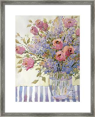 Pink Roses And Lilacs Framed Print