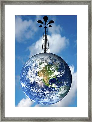 Planet Earth With An Oil Well Framed Print by Victor De Schwanberg