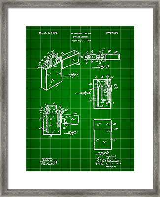 Pocket Lighter Patent 1934 - Green Framed Print by Stephen Younts