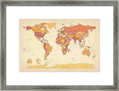 Political Map Of The World Map Framed Print