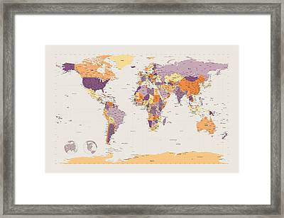 Political Map Of The World Framed Print