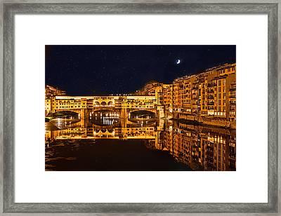 Ponte Vecchio Nightscape Framed Print by Susan Schmitz
