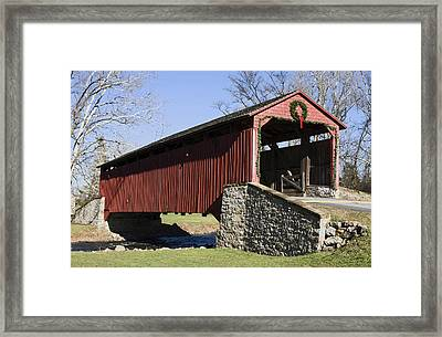 Poole Forge Covered Bridge Framed Print by Sally Weigand