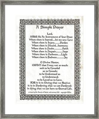 Pope Francis St. Francis Simple Prayer On Parchment Framed Print by Desiderata Gallery