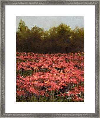 Poppy Field With Gold Leaf By Vic Mastis Framed Print by Vic  Mastis