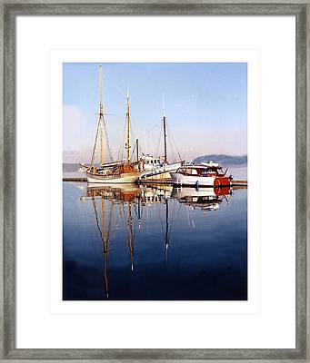 Port Orchard Marina Reflections Framed Print