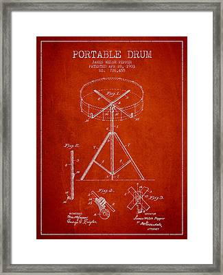 Portable Drum Patent Drawing From 1903 - Red Framed Print