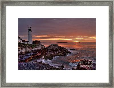 Portland Head Lighthouse Sunrise Framed Print by Alana Ranney