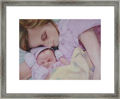 Portrait Of A Young Mother Framed Print