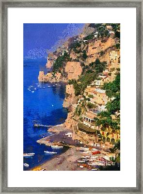 Positano Town In Italy Framed Print