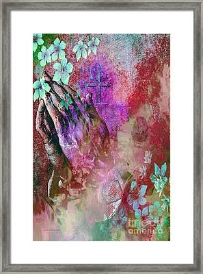 Praying Hands Flowers And Cross Framed Print