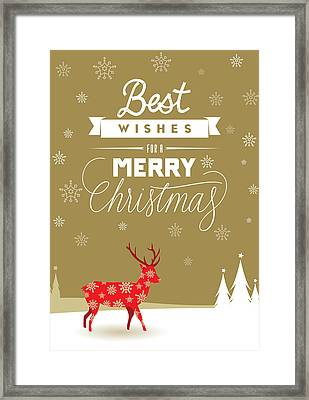 Red Deer Christmas Framed Print