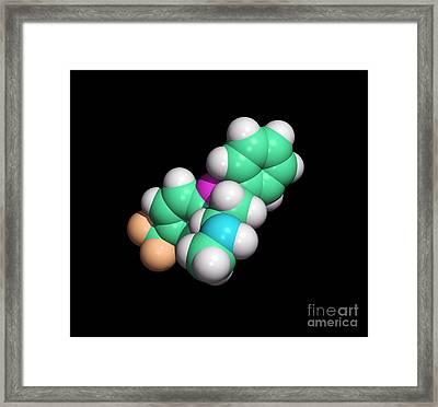 Prozac Antidepressant Drug Molecule Framed Print by Dr. Tim Evans