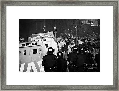 Psni Riot Officers Face Rioters Mob On Crumlin Road At Ardoyne Shops Belfast 12th July Framed Print
