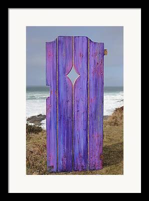 Old Door And Pacific Ocean Framed Prints