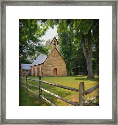 Quarry Chapel Gambier Ohio Framed Print by Brian Mollenkopf
