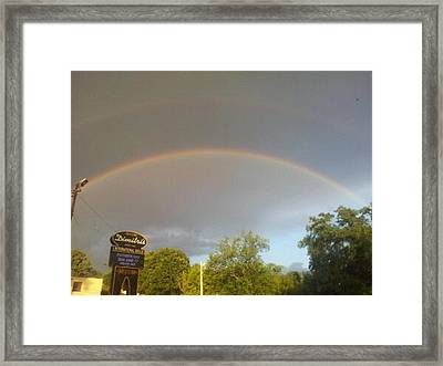 Rainbo And Alien Craft Point Of Entry Into Earth Atmosphere Shown In Upper Right Corner.  Framed Print by Marvin Harding
