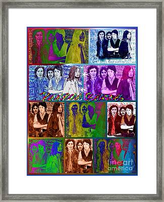 Rainbow Beatles Collage 2 Framed Print by Joan-Violet Stretch