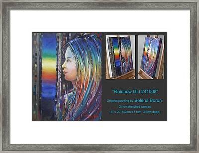 Framed Print featuring the painting Rainbow Girl 241008 by Selena Boron