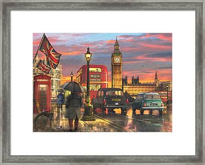 Raining In Parliament Square Framed Print by Dominic Davison