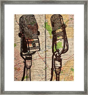 2 Rca Microphones Framed Print by William Cauthern