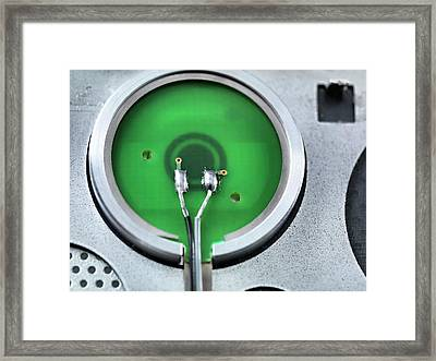 Rear Of A Power Button Framed Print by Tek Image