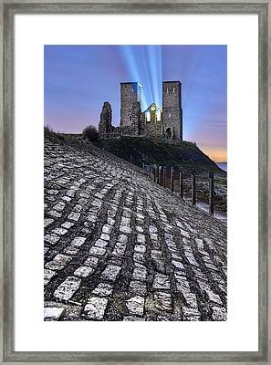 Reculver Towers At Night. Framed Print by Ian Hufton