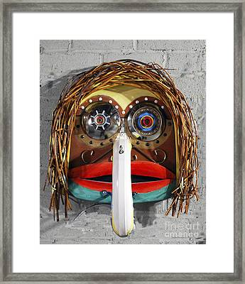 Recycling Spirit Mask Framed Print