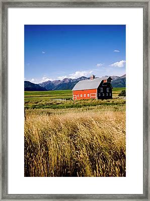 Red Barn In Field Near Joseph, Wallowa Framed Print by Nik Wheeler