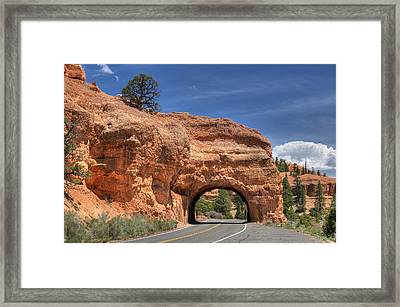 Red Canyon National Park Utah Road Tunnel  Framed Print