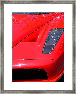 Framed Print featuring the photograph Red Ferrari by Jeff Lowe